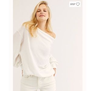 Free People Main Squeeze Hacci Top in Ivory